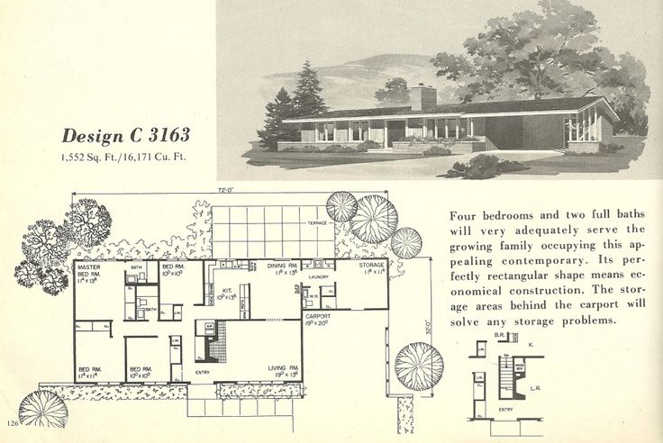 Vintage house plans mid century modern house plans 1960s for 1960s floor plans