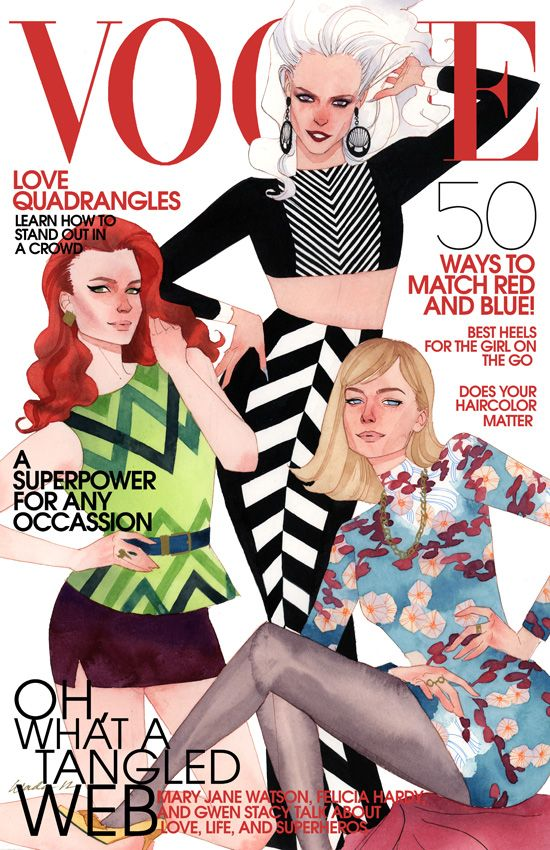 And Vogue by kevinwada.deviantart.com on @deviantART Mary Jane, Gwen Stacy and Felicia. I'm a fan!