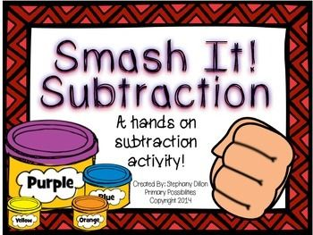 Smash It Subtraction! This is a great hands on activity for practicing subtraction! For 5-2, a student makes five play dough balls and smashes two! Love, love, it!