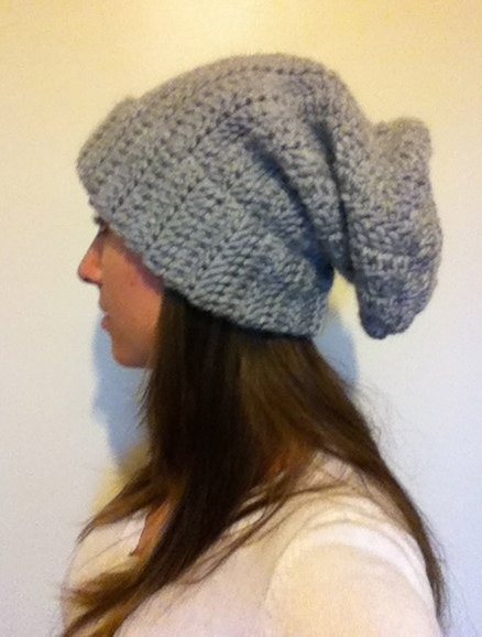 Super Slouchy Light Gray Beanie $26.00
