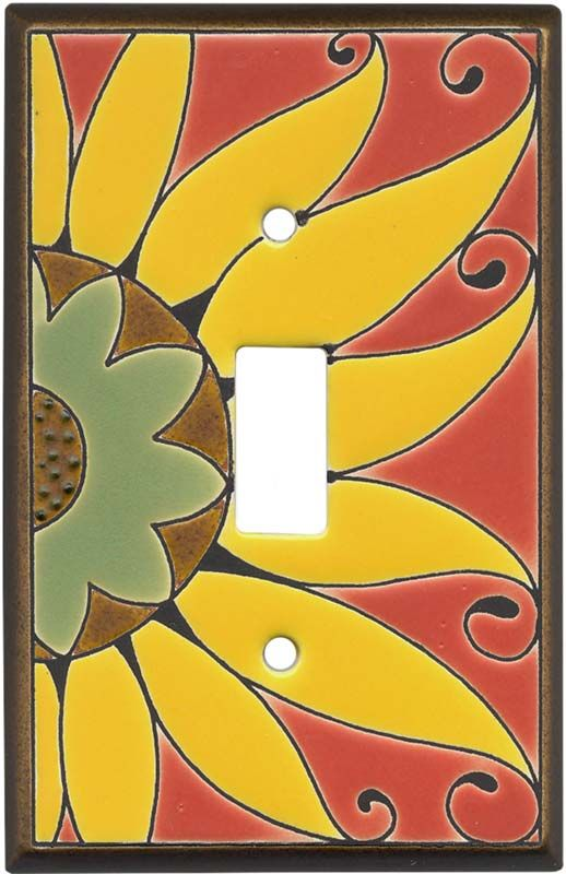 Mexican Sunflower Ceramic Light Switch Plates, Outlet Covers, Wallplates