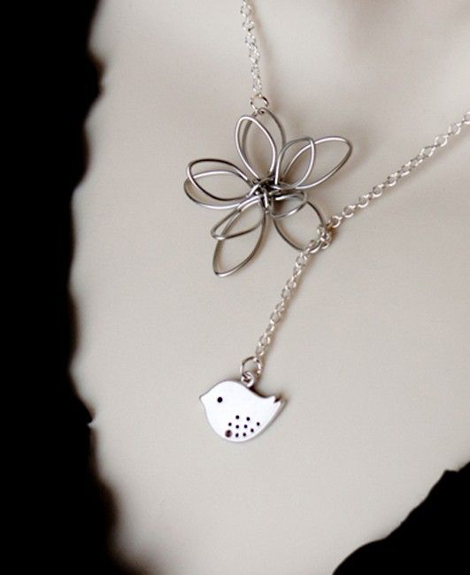 Silver Necklace Bird and Flower Lariat Necklace by MenuetDesigns