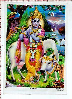 God Lord Krishna Flute Old Hindu Religious Vintage India Print #38576