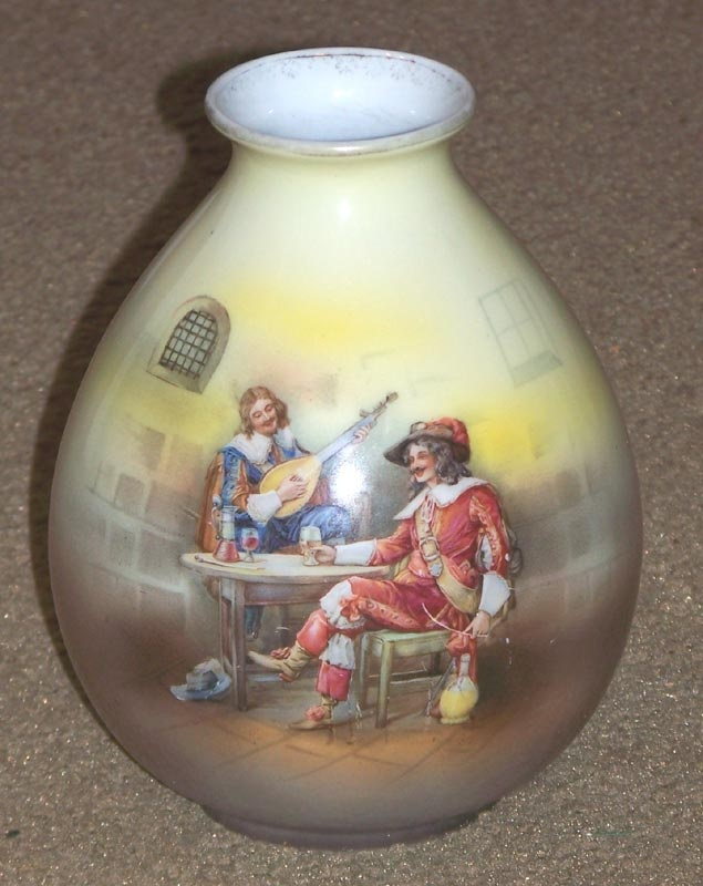 Royal Bayreuth Ovoid Vase  - Musketeers in Pub  Cousins Antiques