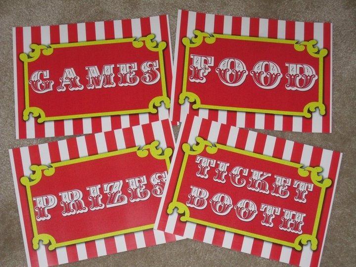 Free Printable Carnival Signs | Carnival Signs