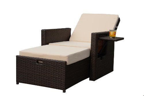 Gartenfreude 125 x 73 x 92 cm 4 Fibre Poly Rattan Reclining Chair with Adjustable Backrest and Aluminium Frame - Bi-Colour Brown