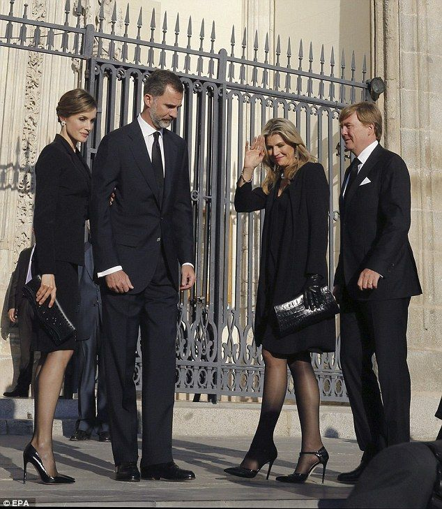 Mourners gathered at the San Jeronimo el Real church in Madrid, includingDutch King Willem-Alexander (right) and Dutch Queen Maxima (centre right)