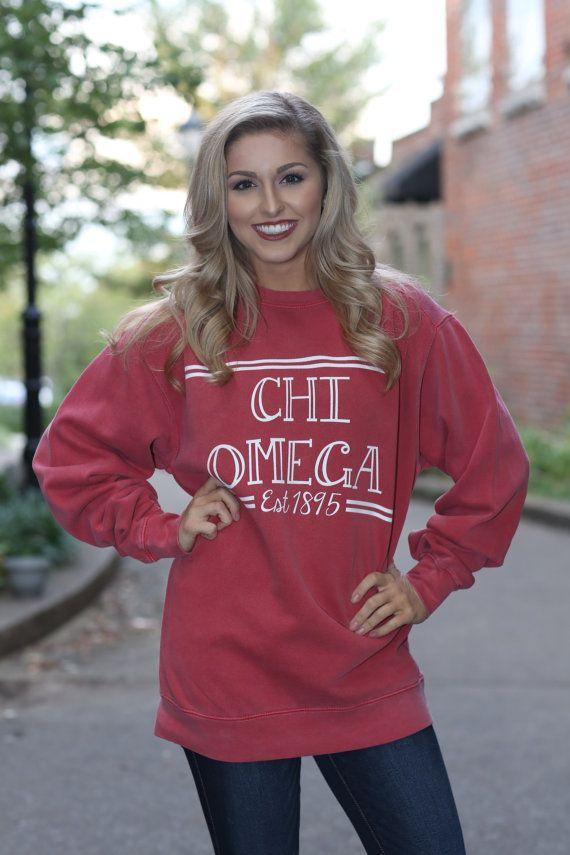 Chi Omega Comfort Color Crewneck Sweatshirt - ChiO Letter Shirt - Comfort Color Oversized Shirt