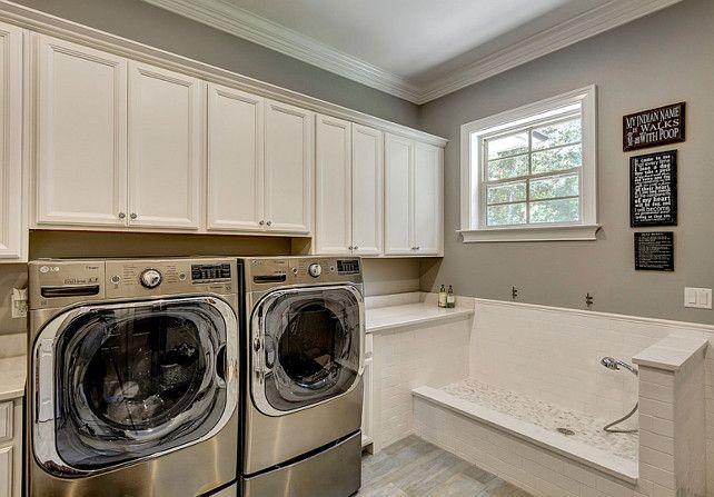 Laundry Room with Dog Bath. Laundry Room with dog wash area. #LaundryRoom #DogBath #DogBathLaundryRoom Tidwell Homes