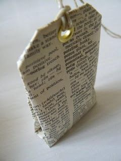 DIY Scented Tea Bag. Fold a teabag from old book pages, kraft paper or patterned paper. Fill with lavender...