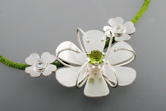 Silver Flower Pendant. Jolly Holiday Pendant with Sapphires and Peridot. Mary Poppins Inspired Jewelry.