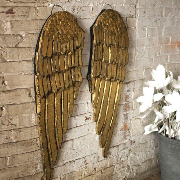 Painted Wooden Angel Wings, Set of 2