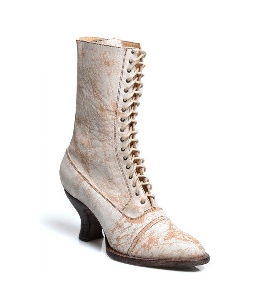 Wear these deeply romantic Mirabelle Victorian Mid-Calf Leather Wedding Boots in Nectar Lux by Oak Tree Farms to your next big party or event!