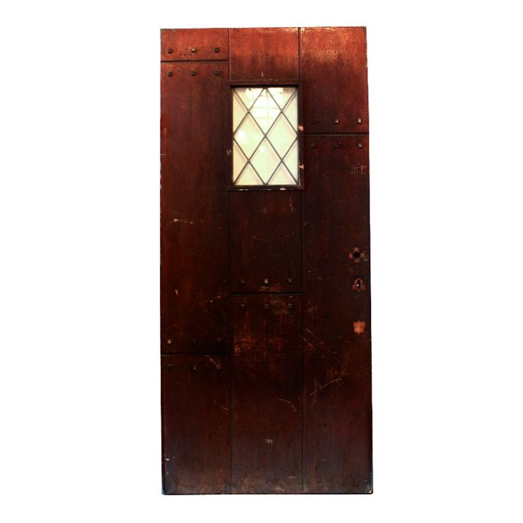 Unusual Antique 36 Plank Mission Door with Leaded Glass, Early 1900s NED156-RW For Sale | Antiques.com | Classifieds