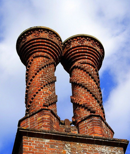The village of Albury in Surrey has an abundance of these ornate  Victorian chimneys