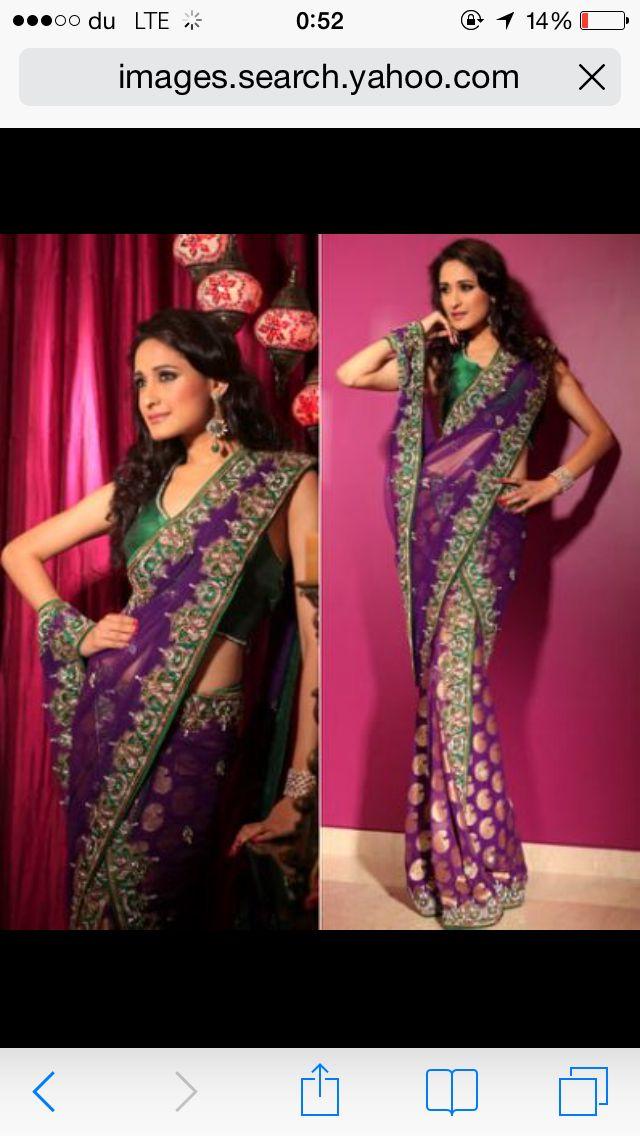 Purple and green sari