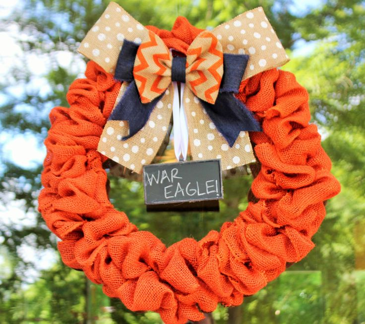 Auburn University Burlap Wreath - Football wreath - War Eagle Wreath by CreatedForHome on Etsy