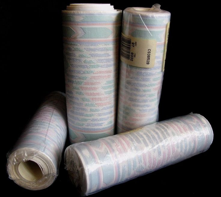 Vintage Southwestern Wallpaper Pastel Border Stripes Mauve C & A Textured 4 Roll #CAWallcoverings