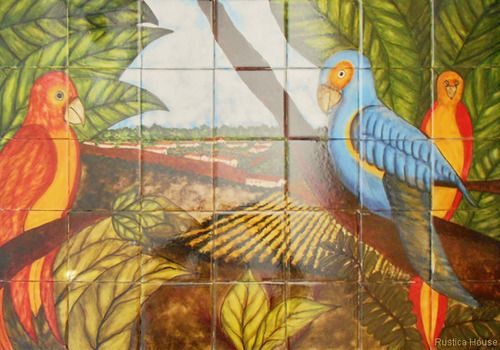 """A rustic tile mural looks pretty on a kitchen wall backsplash, bathroom wall or table-top. Colorful Birds mural sku 19053 is available in any dimensions. rustic tiles can be also installed in swimming pools, fountains and outside of the buildings. Tile Mural """"Colorful Birds"""" by Rustica House. #RusticaHouse"""