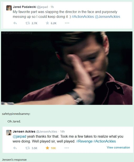 10x03 Soul Survivor tweets [gif] - Jared talking about getting to slap the director and Jensen's reply.  XD