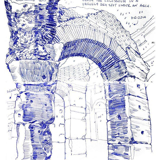 Sketching in Rome. Inside the Colosseum in the rain under an arch. Ballpoint. About an hour. #urbansketching #rome