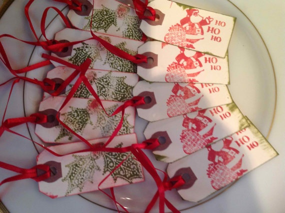 Assorted Christmas Handstamped tags  Santa & by SimpleSouthernSass, $12.95Assorted Christmas, Christmas Handstamped, Handstamped Tags, Tags Santa, Christmas Tags
