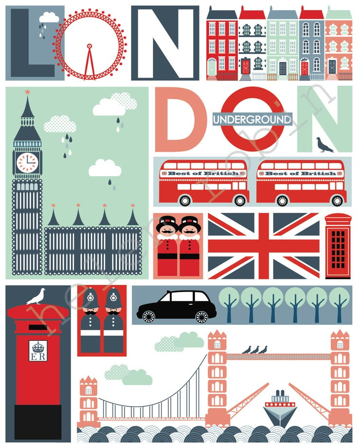 Quirky London Illustrative Print, 8x10 Poster.  via Etsy.