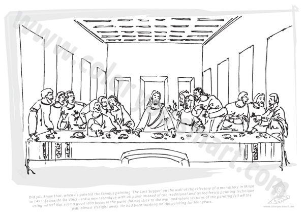 Leonardo Da Vinci The Last Supper Coloring Page | Coloring ... Da Vinci Last Supper Coloring Pages