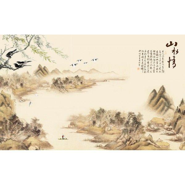 papier peint asiatique paysage avec les oiseaux sur le saule pleureur