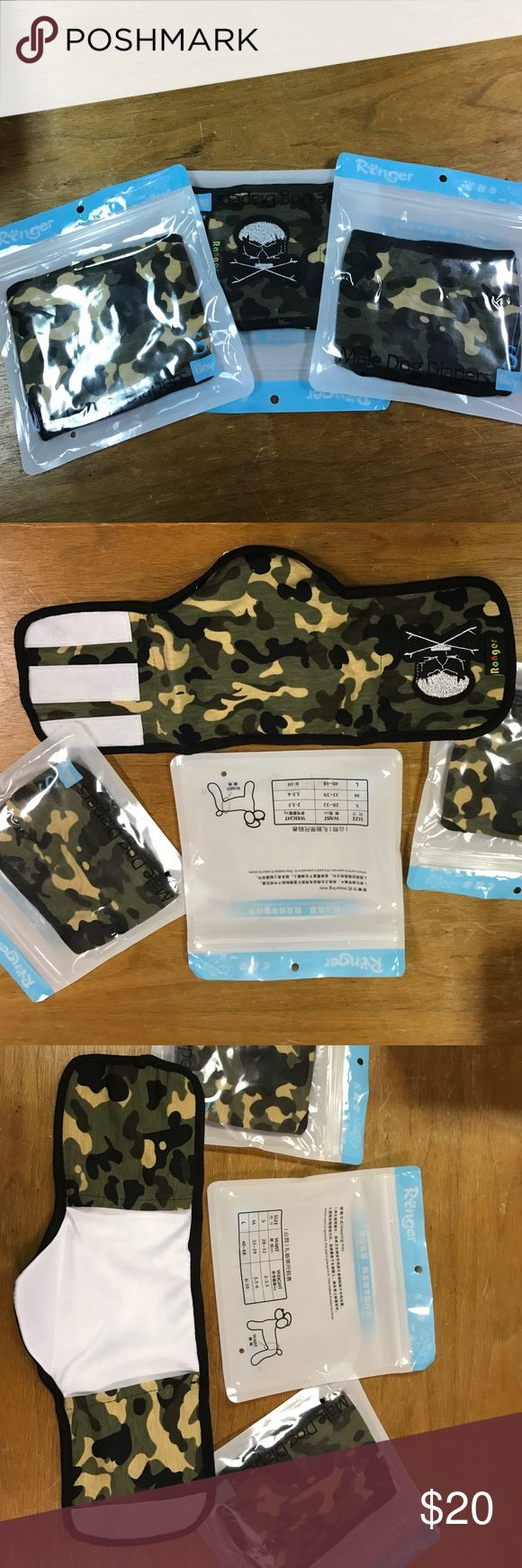 Male Doggie Diapers Small Camo washable doggie diapers with embroidered skull - brand new. Never used. I have a 15 lb shih-tzu and they didn't fit him and I couldn't return. Comes with three of them. Price is firm. Other