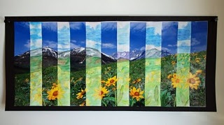 Stretched art using old calendars.