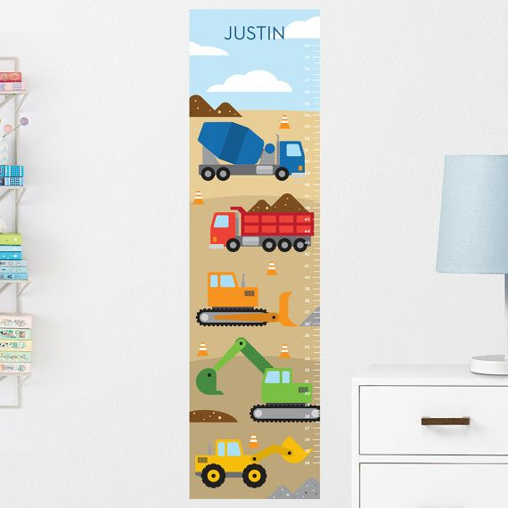 Construction Growth Chart Decal Wall Growth Chart Decal