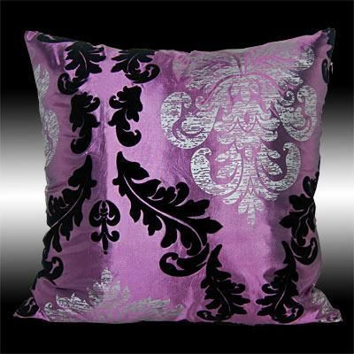 Purple Taffeta Throw Pillow  (Square Couch Cushion, Shiny Black, Silver & Purple Damask, Living Room Decor)