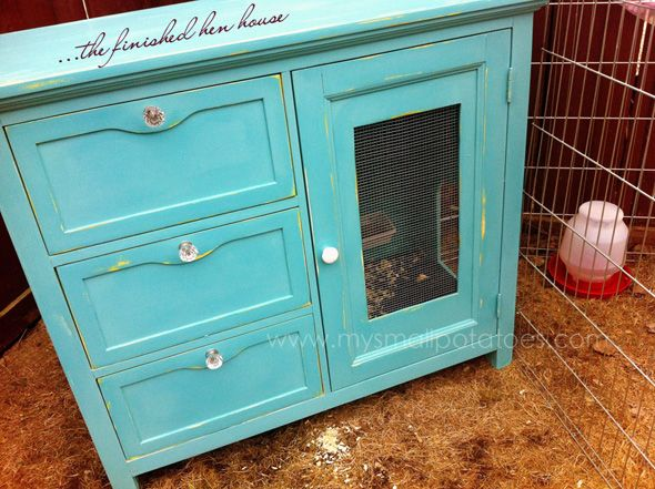 Small chicken coop from a dresser!  (and sweet blog post about the benefits for children when raising backyard chickens).