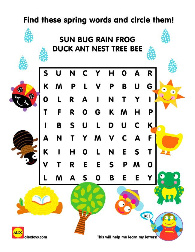 Spring Word Search activity sheet for kids. Free #Printable | alextoys.com