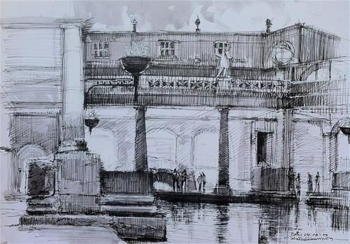 "Daily Paintworks - ""Roman Bath, City of Bath"" - Original Fine Art for Sale - © Adebanji Alade"