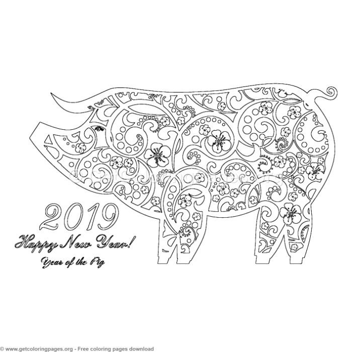 6 Year Of The Pig Coloring Pages Coloring Pages Year Of The Pig