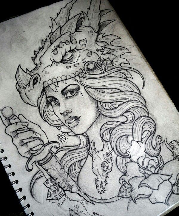 Dragon woman tattoo designs pinterest girls for Drawing tattoos on paper