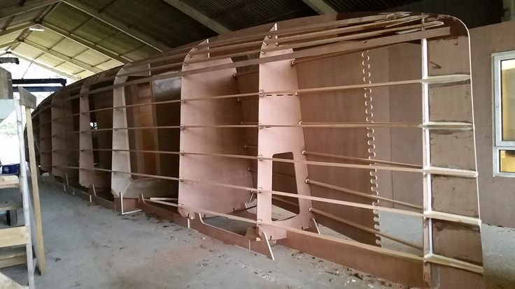 Dix 470 plywood catamaran, side panel being fitted. | Multihull Wooden Boat Plans in 2019 ...