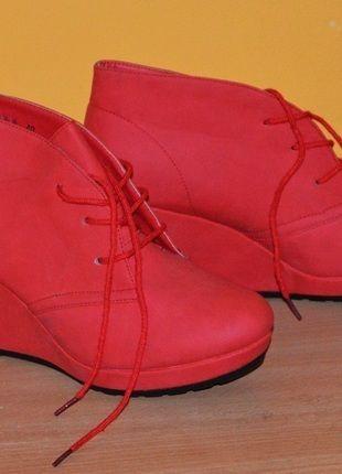 Kup mój przedmiot na #vintedpl http://www.vinted.pl/damskie-obuwie/botki/11029390-czerwone-botki-na-koturnie-40