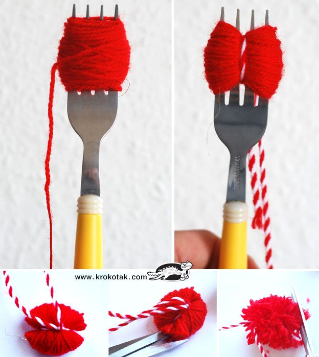 Mini pompoms on a fork!