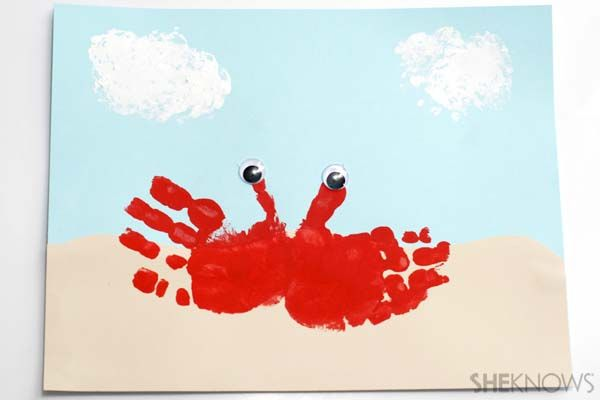 Ocean themed crafts for kids: lobster hand print craft