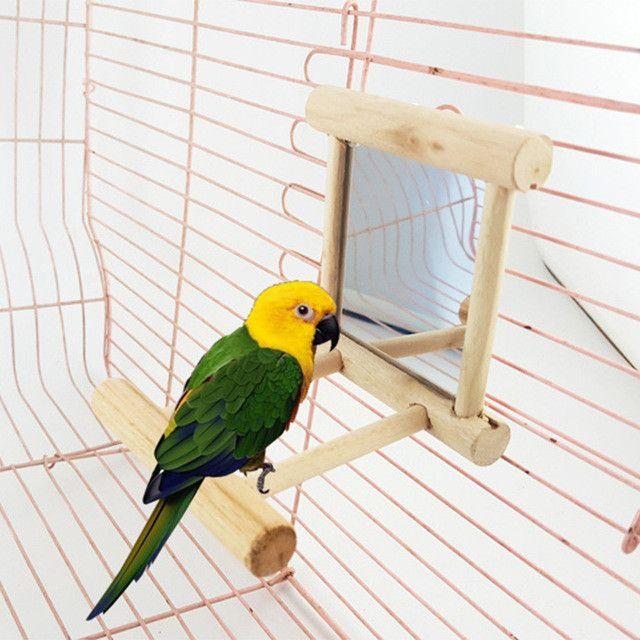 Funny Wooden Bird toy Mirror fun toys for parrots Cockatiel vogel speelgoed 2017 New Arrival