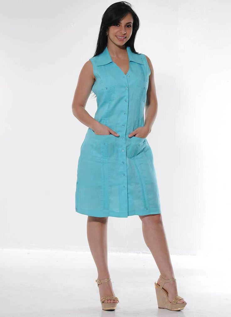 Ladies Guayabera Dress (LDC3098 / DC190) - Ladies Guayabera Dress. Linen 100 %Dry Clean for best Result.Colors: White, Butter, Lava, AppleAvailability is subject to change