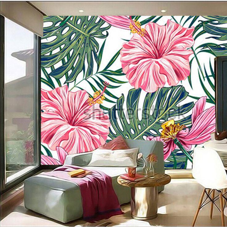 Custom-3D-large-mural-font-b-tropical-b-font-flowers-font-b-palm-b-font-font.jpg (800×800)