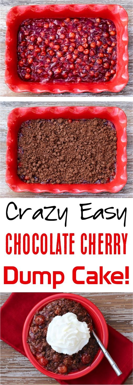 Easy Black Forest Dump Cake Recipe!  This 3 ingredient chocolate cherry dump cake is the ultimate holiday party dessert and 110% delicious!