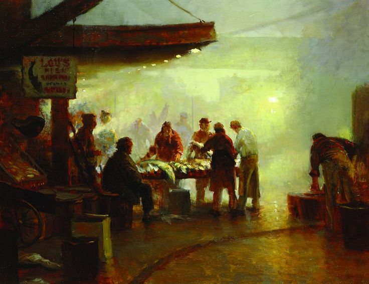 Fish Market Dawn (oil on canvas, 25x32) by Gregg Kreutz | 10 Principles of Painting | Great article!