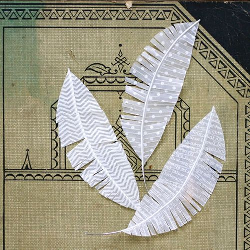 How to make paper feathers like the Jenni Bowlin feathers by Julie Fei Fan Balzer