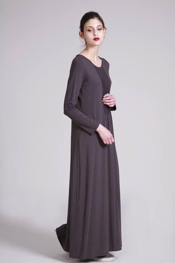 Grau Langarm Kleid | Maxi Baumwolle Jersey Kleid für ...