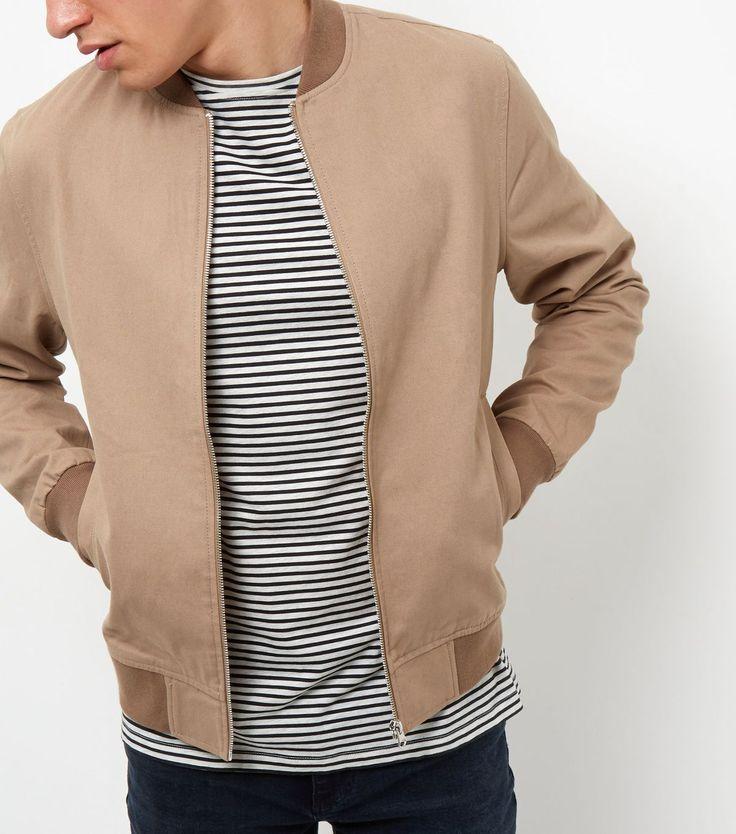 Stone Cotton Bomber Jacket